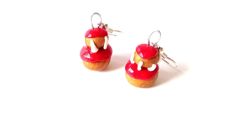 Boucles d'oreilles RELIGIEUSES, rouges