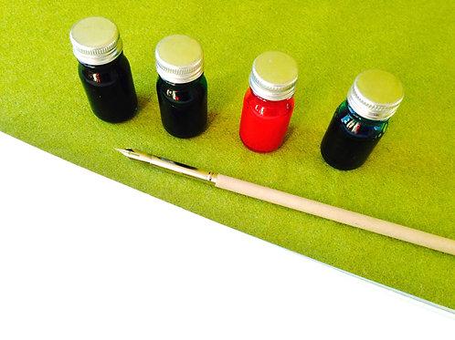 Kit de Calligraphie, 4 bouteilles d'encres parfumées colorées, et 1 porte plume.