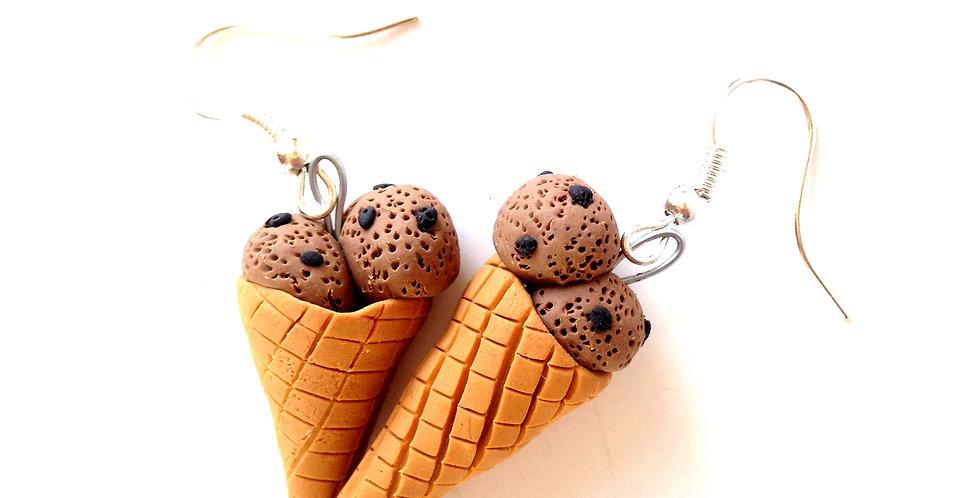 Boucles d'oreilles GLACES, PÉPITES DE CHCOLAT, miniatures