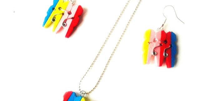 Parure de bijoux J'EN PINCE, pinces à linges miniatures multicolores