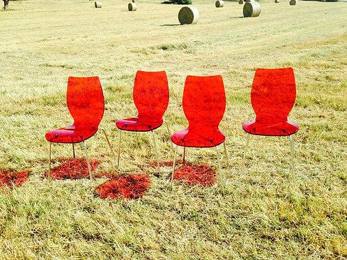 Chaises vintage en acrylique rouge, design années 60 70, plexiglas