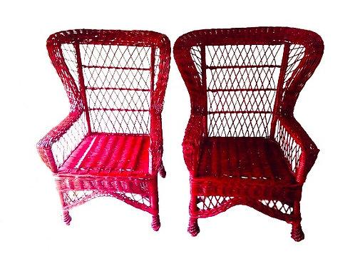 Fauteuils -- Paire de fauteuils rouges vintage rare bambou rotin