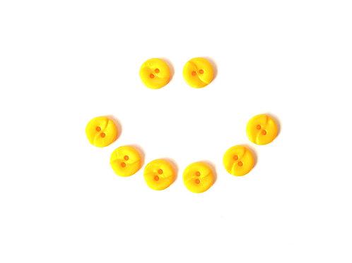 Lot de 8 jolis boutons vintage en résine, JAUNE, taille 11 mm