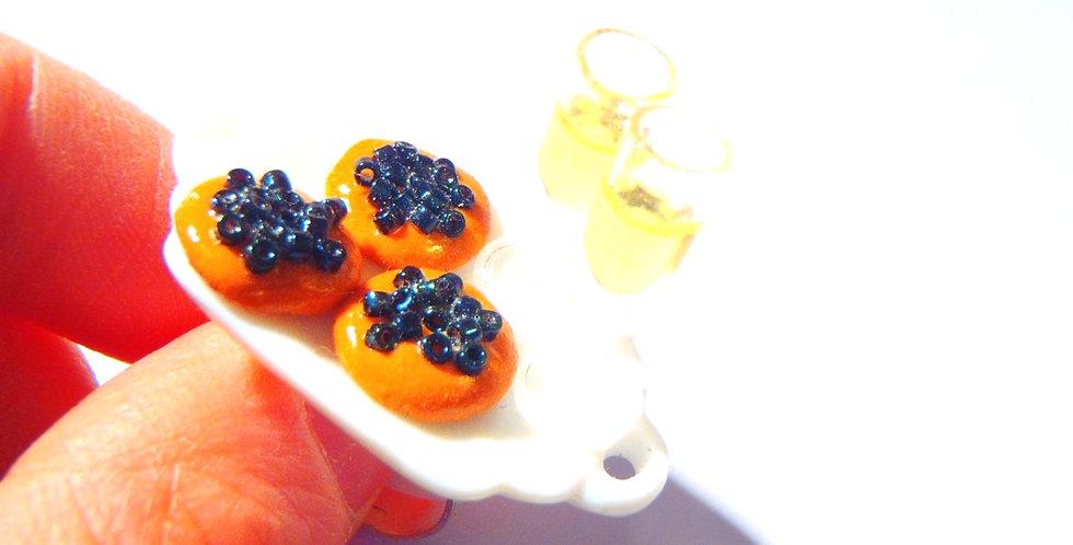 Bague CAVIAR ET CHAMPAGNE, toasts miniatures, coupes