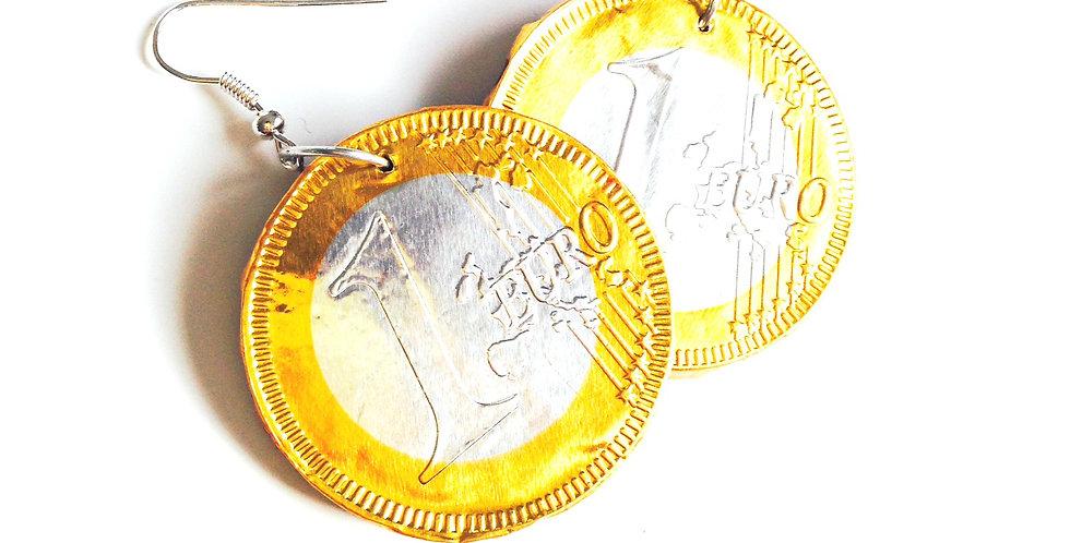 Boucles d'oreilles UN EURO, médaille