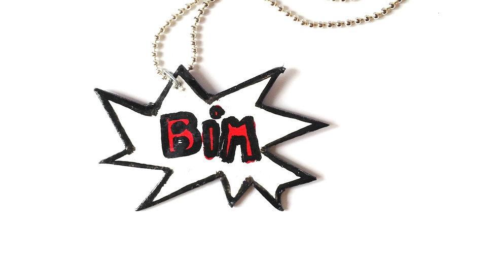 Sautoir BIM, carton peint, chaîne argentée