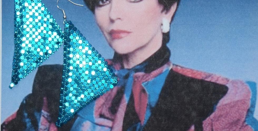 Boucles d'oreilles ALEXI, bleu métal, triangle