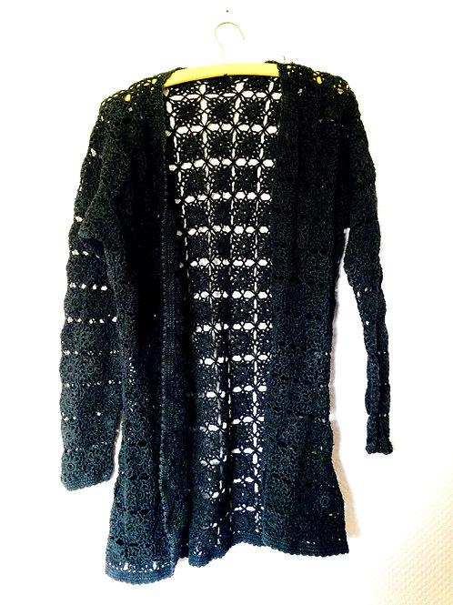 Gilet long, en crochet de coton noir, T.38/40/42