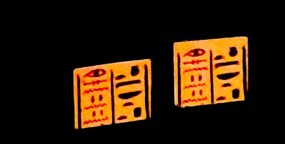 Puces d'oreilles SCRIBE, carrées, Egypte Ancienne