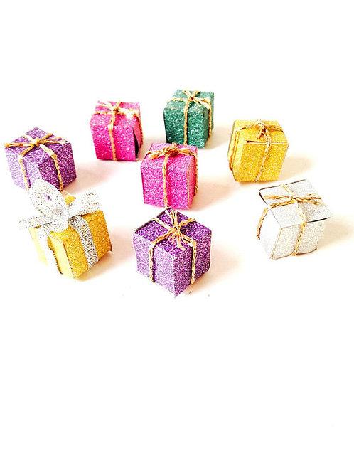 Lot de 8 petits cadeaux miniatures, faits main, multicolores, pailletés