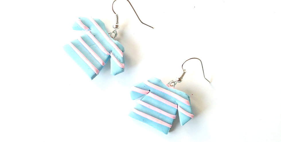 Boucles d'oreilles MARINIÈRES, roses / bleu, miniature