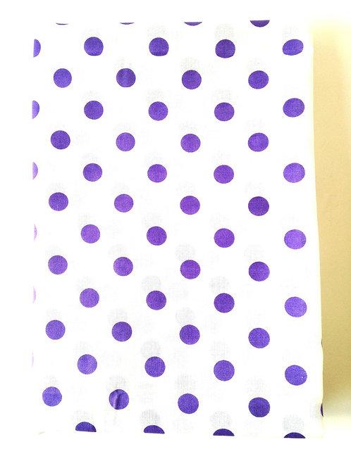 Joli coupon de tissu à pois, BLANC / VIOLET, coton, 88 x 268 cm