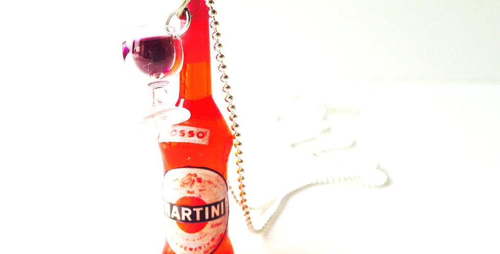 Sautoir PINK MARTINI by the pool, bouteille et verre miniature par The Sausage