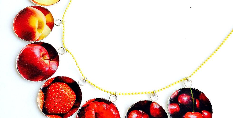 Collier mi long DÉLICE FRUITÉ, médaillons fruits