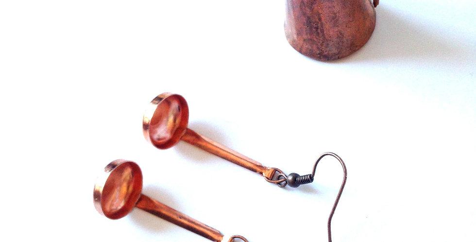 Boucles d'oreilles  À LA LOUCHE, louches cuivrées miniatures
