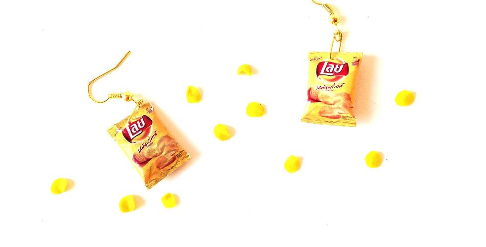 Boucles d'oreilles LES CHIPS, miniatures, jaunes