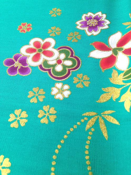 Batik Indonésien, couleur MENTHE / MER TURQUOISE, fleurs rouge /  blanc / violet