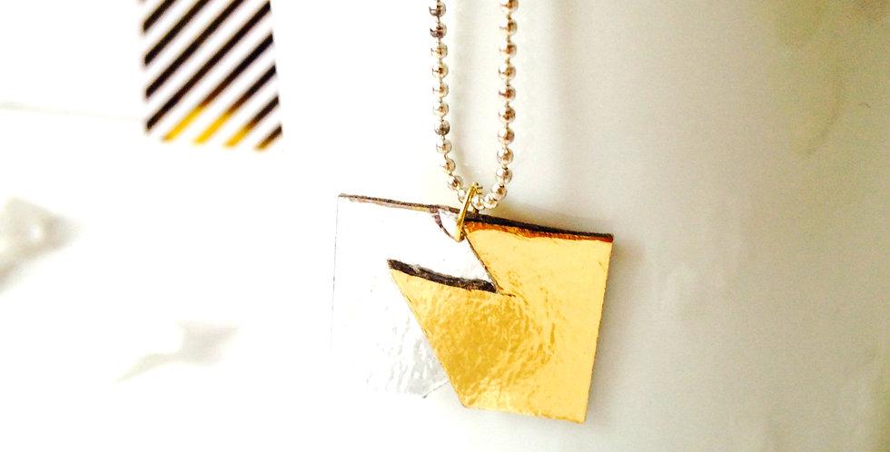Sautoir SIBÉRIE, carton recyclé argenté doré, chaîne longue