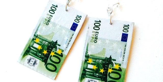 Boucles d'oreilles LES EUROS, miniatures, 100 euros par The Sausage