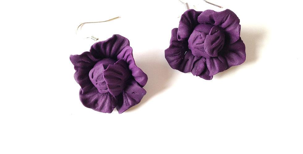 Boucles d'oreilles TROP CHOU !! choux miniatures, violets par The Sausage