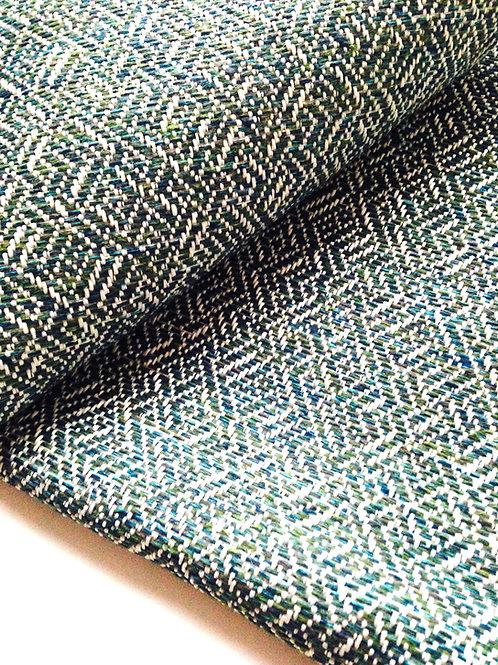 Tissu Tweed bleu gris motif géométrique, tissu fin