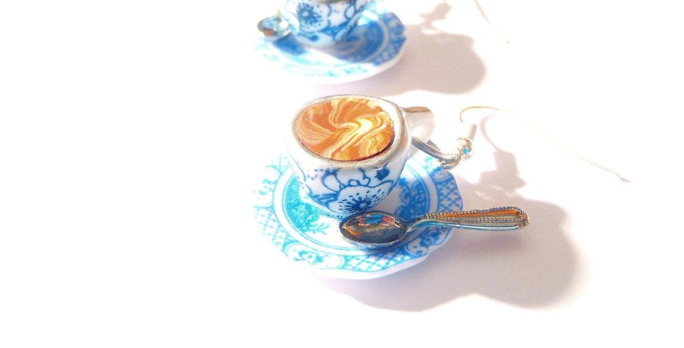 Boucles d'oreilles LES P'TITS CHOCOLATS VIENNOIS, bleus, porcelaine
