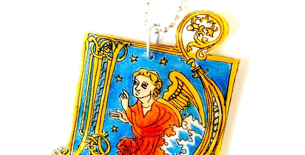 Sautoir L'ANGE, enluminure, pendentif en plastique fou