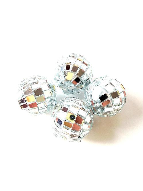 1 lot de 4 boules à facettes miniatures , miroirs et polystyrène