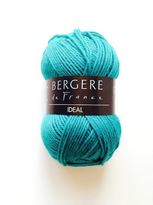 1 pelote de 50 grs de laine IDEAL, couleur bleu canard, aiguilles fines