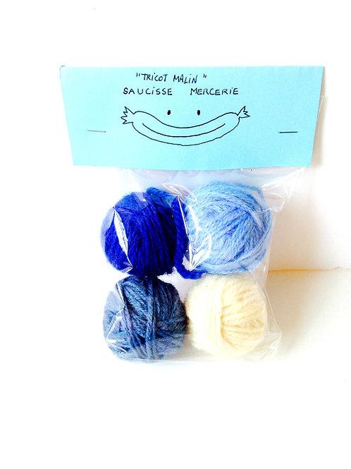 4 mini pelotes de laine, dégradé de bleus et blanc