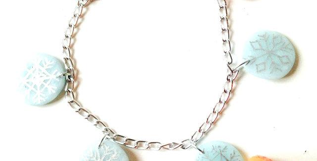 Bracelet LES FLOCONS, pastel rose bleu et argenté