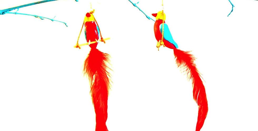 Boucles d'oreilles LES OISEAUX DE PARADIS, plumes rouges