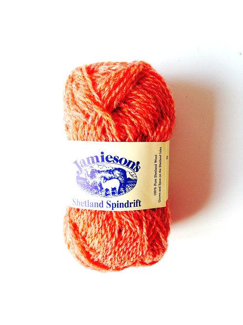 Pelote de laine 100% SHETLAND, spindrift (fil fin), FLAME chiné