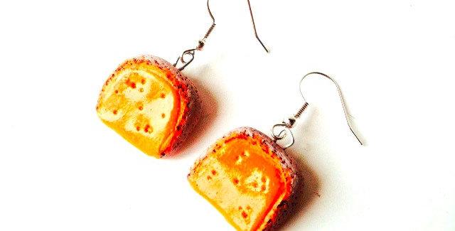 Boucles d'oreilles L'AMIE MOLLETTE, (vieille), orange, gris, parts miniatures