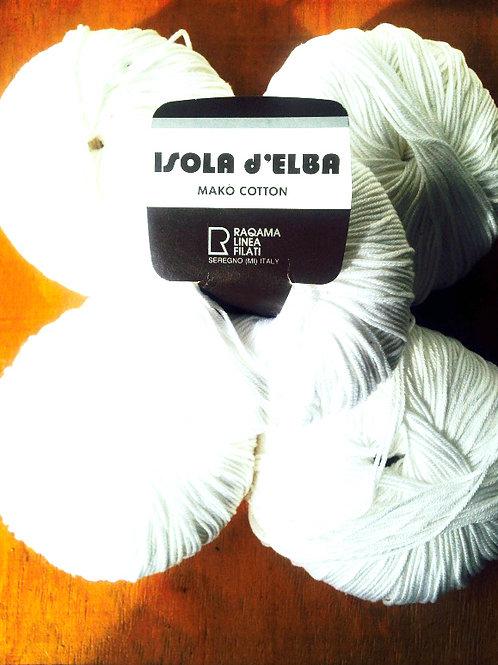 Fil de coton mercerisé Isola d'Elba, blanc neige x 5 excellente qualité