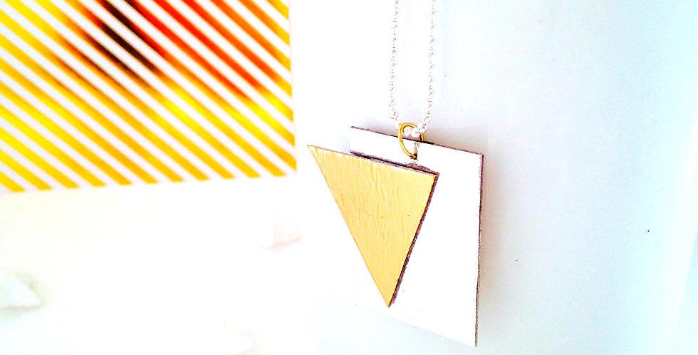Sautoir PERCE-NEIGE, carton recyclé argenté doré, chaîne longue