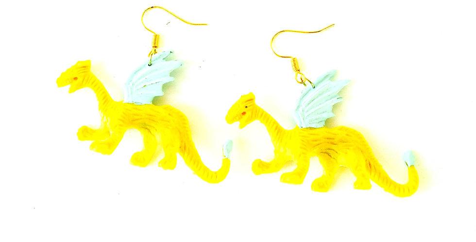 Boucles d'oreilles DRAGONS AILÉS, jaune et menthe