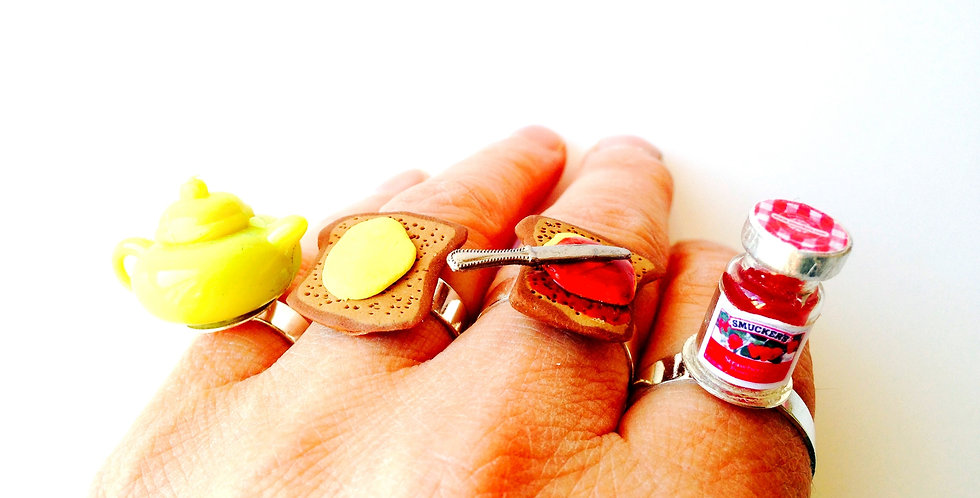 Bague multiple LE P'TIT DÉJ, thé tartines miniatures