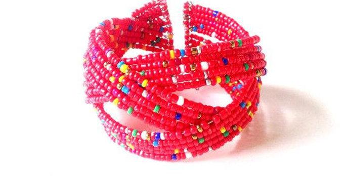 Bracelet ouvert, ROUGE, MULTICOLORE, perles miyuki