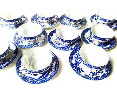 Service à thé JAPON, bleu et blanc, porcelaine ultra fine