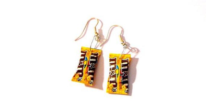 Boucles d'oreilles JE CRAQUE, bonbons chocolatés jaunes