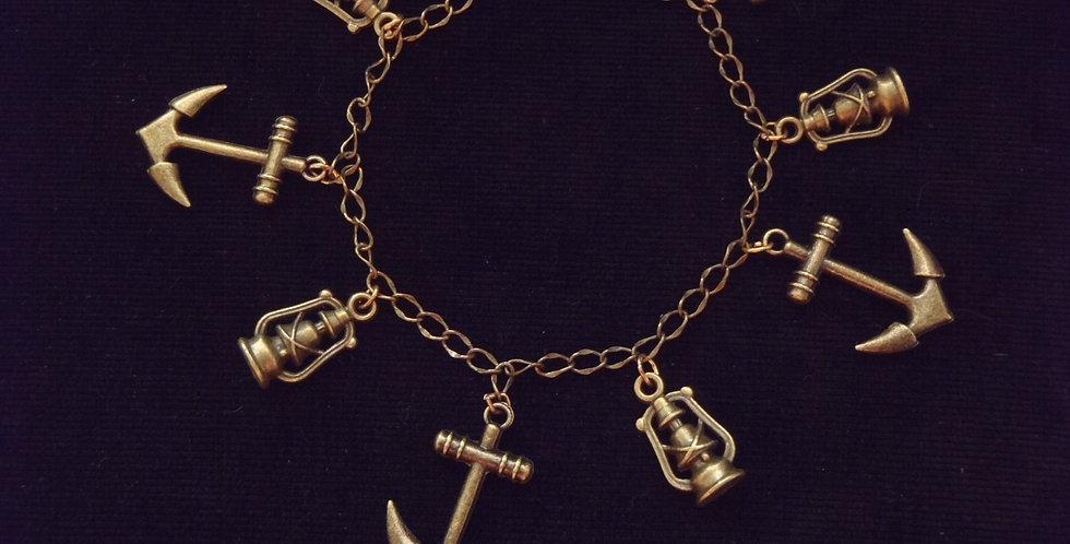 Bracelet charms LADY PIRATE, couleur bronze
