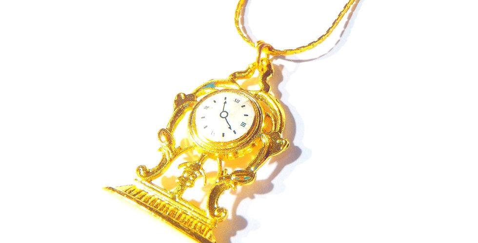 Sautoir doré VERSAILLES, horloge miniature, chaîne dorée fine