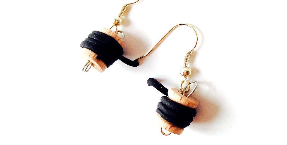 Boucles d'oreilles LES BOBINETTES, noires