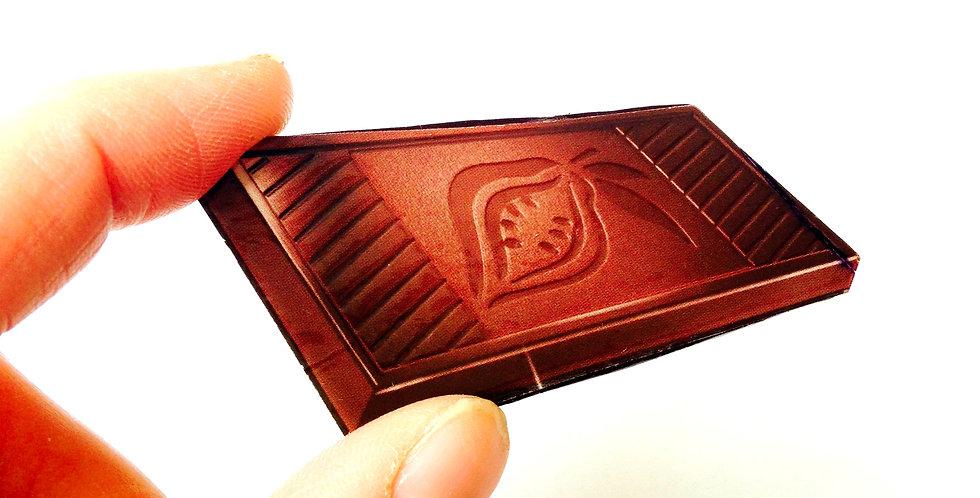 Broche CHOCOLAT NOIR INTENSE, trompe l'oeil broche collage plate