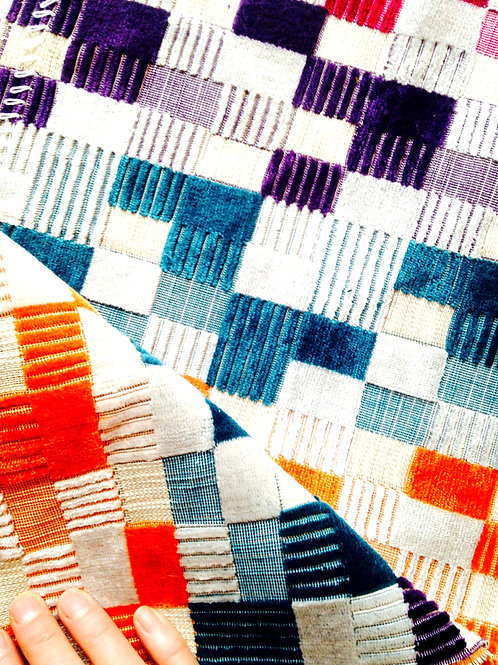 Tissu -- Bande de velours côtelé multicolore, motif carrés 34x143 cm