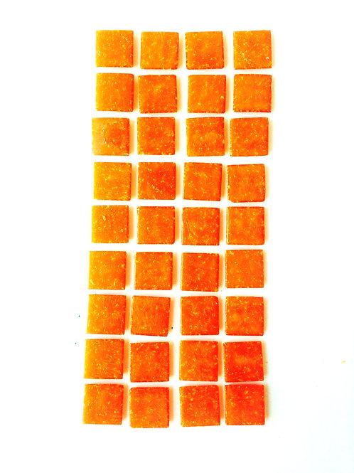 Tesselles de Mosaïque pâte de verre 2 x 2 cm orange mandarine, 100 grs