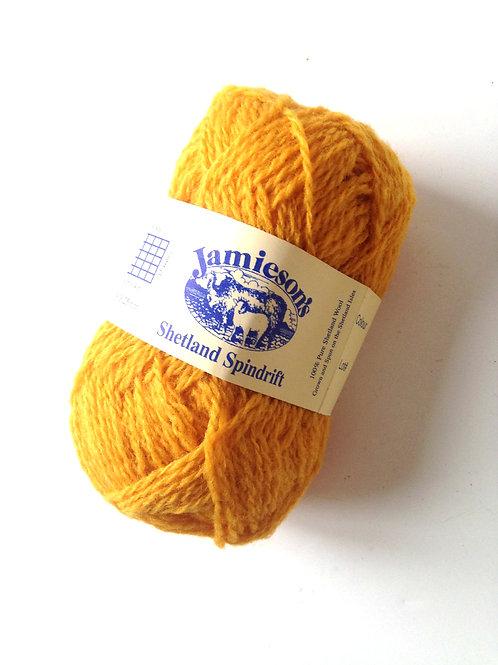 Pelote de laine 100% SHETLAND, spindrift (fil fin), jaune , coloris CORNFIELD