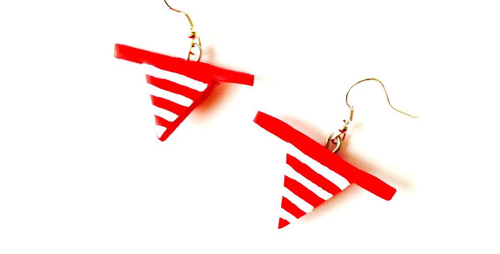Boucles d'oreilles MONOKINI,  marinière rouge