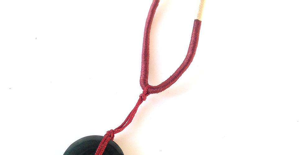 Collier FIL DE JADE, donut de jade ver foncé, fil de soie